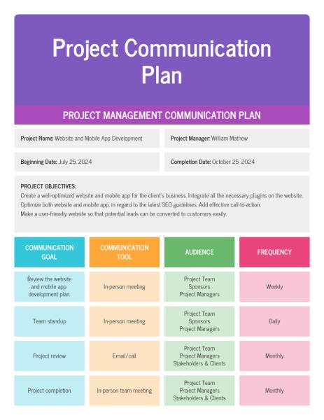 Project communication plan 3